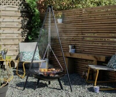La Hacienda Tripod Steel Fire Pit + BBQ & Grill Garden Patio Heater Outdoors 🔥✅