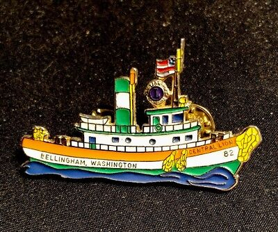 Lions Club Pin 1982 Bellingham Central Washington Salmon Capital Boat