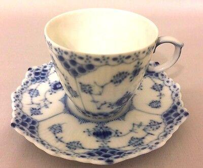 Royal Copenhagen Denmark BLUE FLUTED FULL LACE Cup & Saucer set