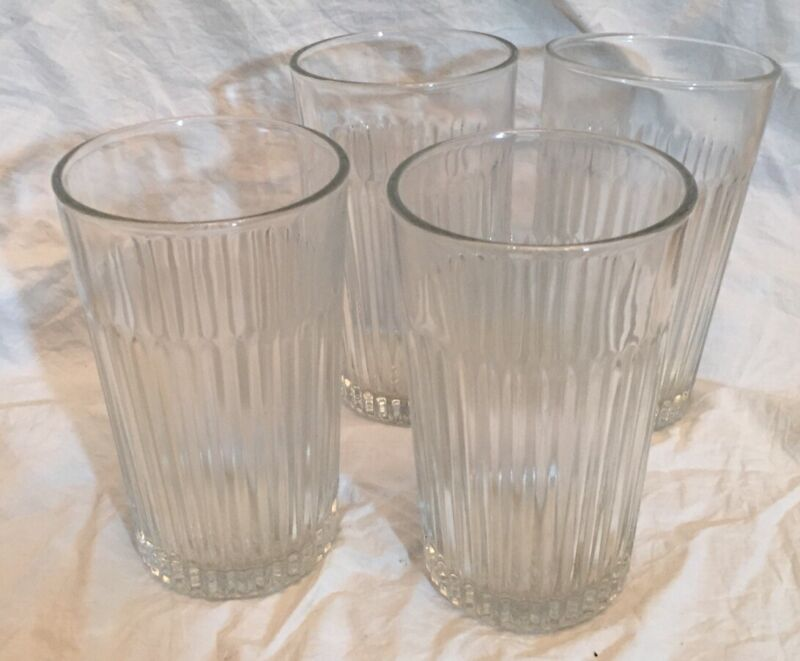 4 Vintage Drinking Glasses Clear Glass Ribbed Thick Heavy Iced Tea