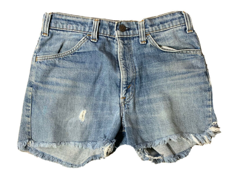 VTG 70s Levis Orange Tab Womens Distressed Denim Cut Off Shorts Size 29 Made USA