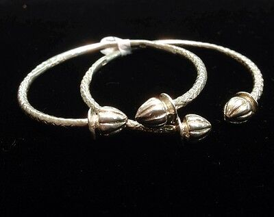 Pair Of Handmade West Indian Sterling Silver Bangles - Baby Size