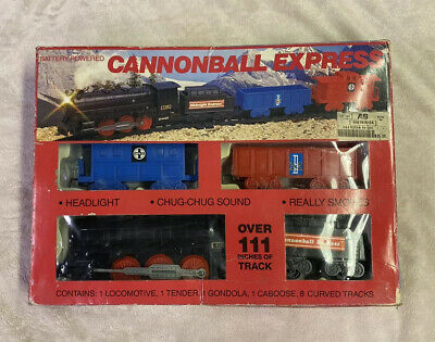 Vintage The Cannonball Express Train Set 4 Cars & Track Tested Great Shape Rare!