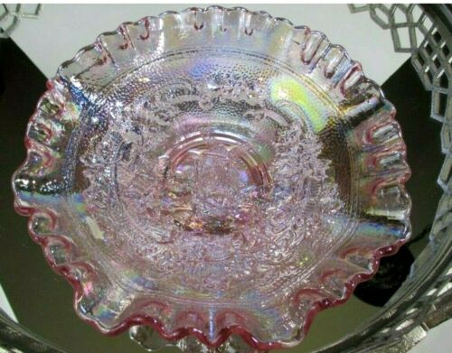 Imperial Bowl Windmill Crimped Pink Carnival Glass Candy Iridescent #C15