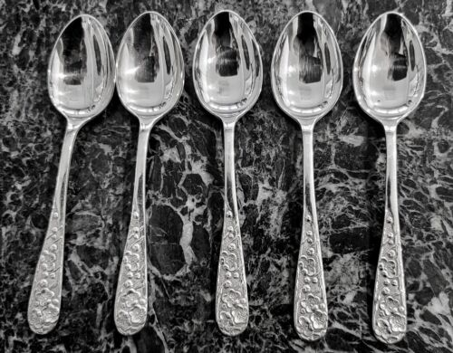 Set of (5) 950 Silver Antique Japanese Cherry Blossom Pattern Coffee Spoons