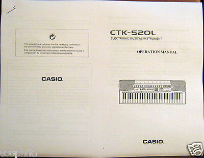 Casio CTK-520L Digital Piano Keyboard Owner's Users Operating Manual Book on Rummage