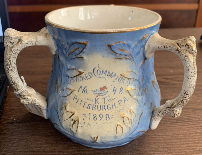 Rare Knights Templar 1898. Made for Tancred Commander No 48. 3 handle loving cup