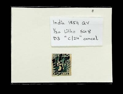 """INDIA 1854 QV ½a LITHO SG 8 D3 """"C/24"""" CANCEL"""