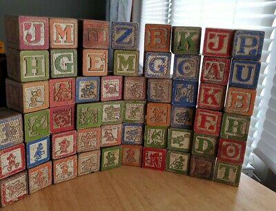 Old Child/Baby Wooden Blocks Lot 55 ABC Walt Disney Mickey Donald Snow White