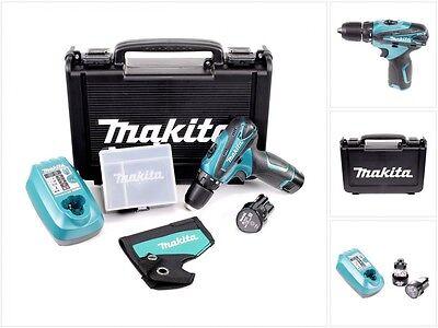 Makita DF 330 10,8 V Akku Bohrschrauber Set + 2 x Akku + Lader + Koffer DWE DWJ