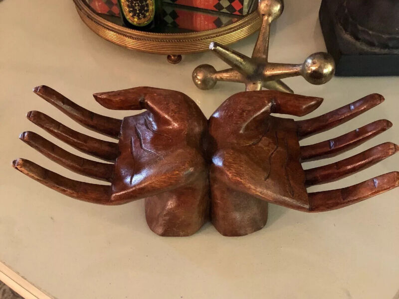 Awesome MCM Vintage Hand Carved Large Hands Unity Very Retro