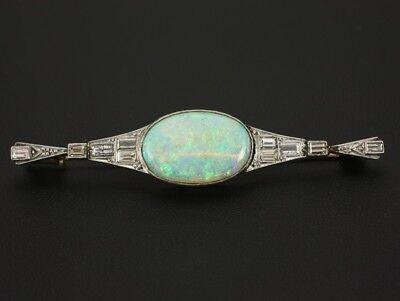 Antike Diamant Opal Brosche ca. 0,68ct und 4,50ct   585/- WG/GG um 1920/30
