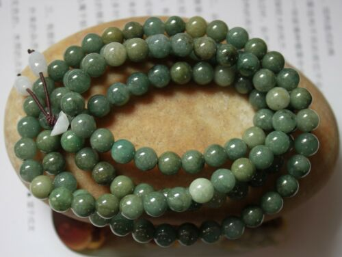 "100% Natural Untreated Grade A Oily Green Jadeite JADE Necklace 32"" #N311"