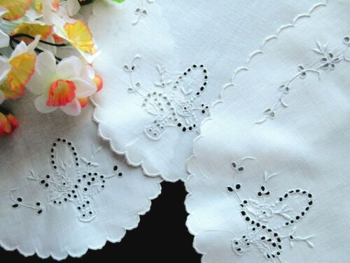 SET of 4 Antique White Doilies - Vanity or Buffet - Madeira Embroidered Cutwork