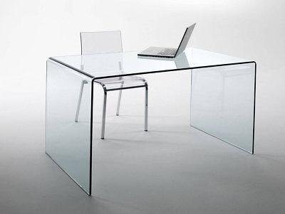 Klar Glas-schreibtisch (CHANDRA Glas Schreibtisch Bürotisch Echtglas 120x60x75cm Glastisch Computertisch)