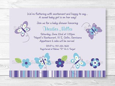 Lavender Butterfly Garden Printable Baby Shower Invitation Editable PDF