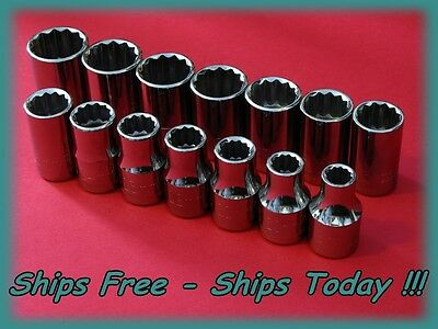 "Craftsman Socket Set 14 Piece 1/2"" Drive 12 Pt Point Metric MM Chrome Master"