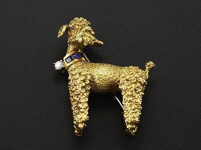 Rene Kern Pudel Brillant Saphir Brosche Goldschmiedearbeit  20,8g 750/- Gelbgold