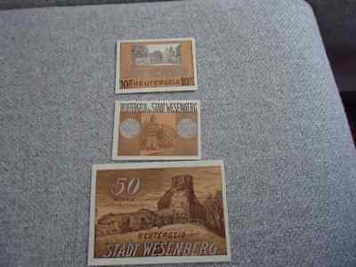 3x notgeld Wesenberg Reutergeld