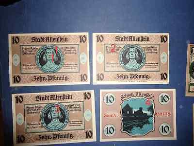 1 schein Notgeld  Allenstein-1921-10-Pfennig
