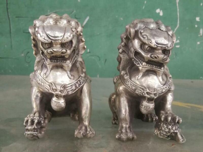 Rare Chinese tibet Silver Guardian Lion Foo Fu Dog Statue Pair