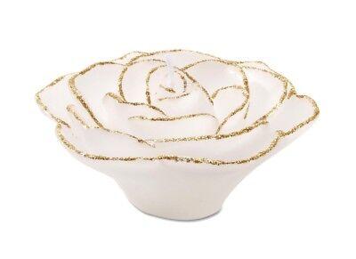 Darice Rose Wax Floater White w/ Gold Glitter