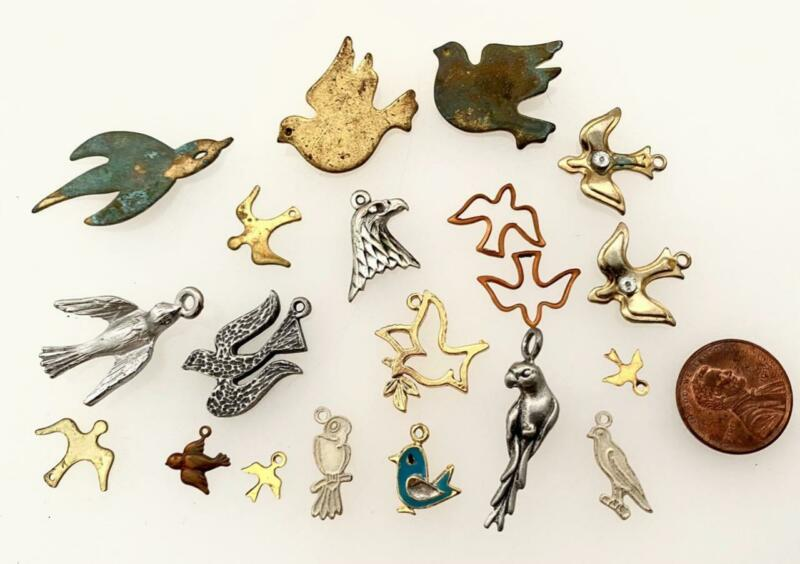 Vintage Mixed Metal Bird Charms Findings Mix 20