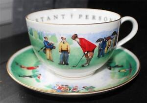 Vintage-ROYAL-WORCESTER-VIP-Very-Important-Person-GOLFERS-Oversized-Cup-Saucer
