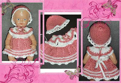 Festliches Set : Kleid + Hut  SK Schildkröt Strampelchen , Baby  Puppen 16 cm