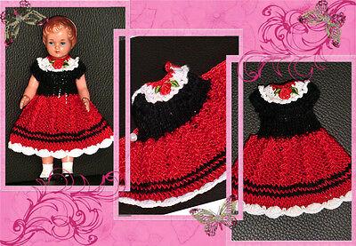 Nostalgiekleid Strickkleid Puppenkleid SK, SE Puppen 12 - 14 cm Puppenstube neu