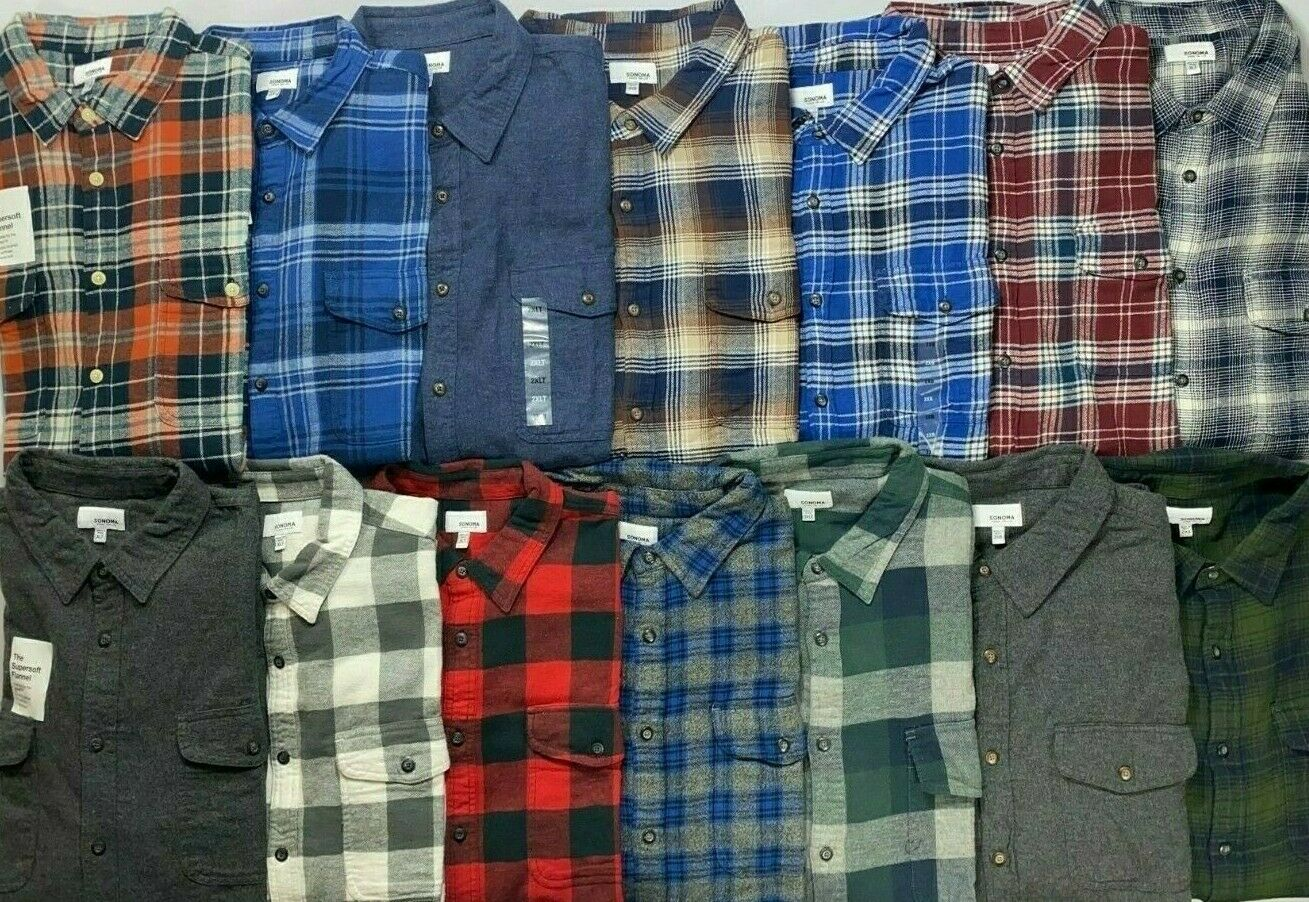 Men's Sonoma Big & Tall The Supersoft Flannel Button Front L