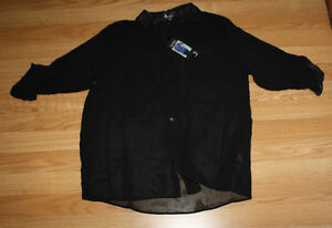 NWT Womens NICOLE MILLER Black Sheer Button Up Summer Spring Shirt Blouse L