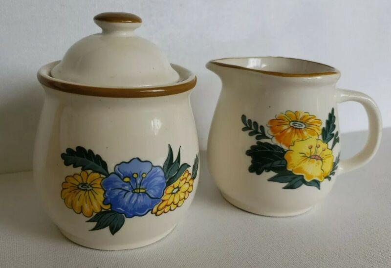 M Kamenstein Sugar Bowl w/ Lid & Creamer Flowers Floral Design Vintage