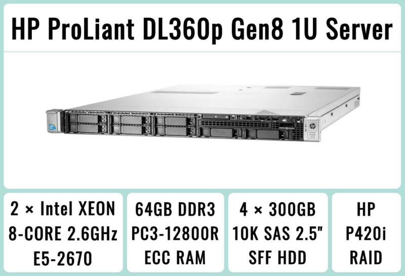 HP ProLiant DL360p Gen8 Server 2×E5-2670 Xeon 8-Core 2.6GHz + 64GB RAM + 4×300GB