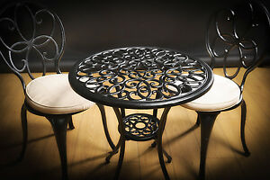 cast aluminium bistro set with cushions and powder coating maintenance free