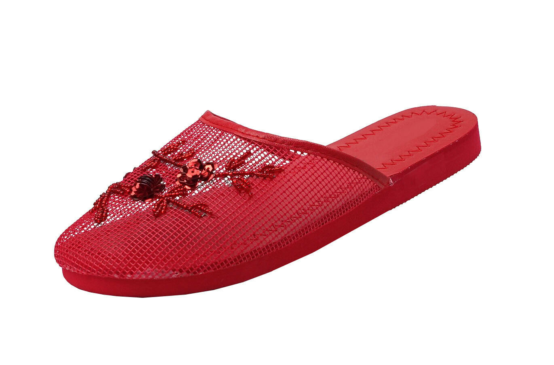 --1313 网拖 Women/'s Chinese Mesh Floral Beaded Sequined Slipper Multi-color Size