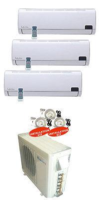 Tri Zone Mini Ductless Split 3 x 12,000 BTU Klimaire~Toshiba Cool/Heat SEER 16