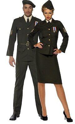 Paar Damen & Herren Kriegszeit Offizier WW2 Weltkrieg - 2 Paar Kostüme