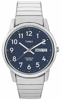 Timex T20031, Easy Reader, Men's, Silvertone Expansion, Indiglo, Date, Blue Dial