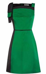 KAREN MILLEN Green Black Cotton Satin Party Evening Dress DN250 Balaclava Port Phillip Preview