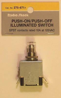 Radioshack 275-671 Spst Push-onpush-off Illuminated Switch 10a At 125vac