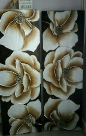 Beautiful Gold, pale silver & gold flower paintings x2