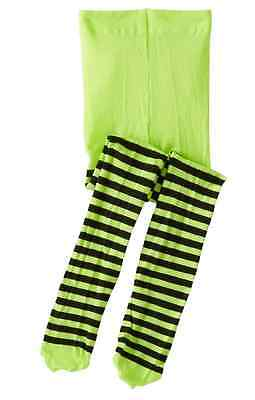 Witch Tights Halloween Green and Black Stripes Striped Size 4-10 years NEW (Green And Black Tights)