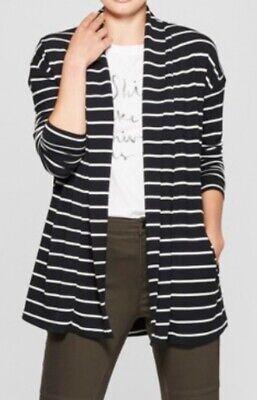 A NEW DAY Modal Knit Striped Cardigan 547140 ~ Black/Cream Stripe