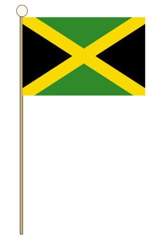 "JAMAICA HAND WAVING FLAG medium 9"" X 6"" wooden pole flags JAMAICAN KINGSTON"