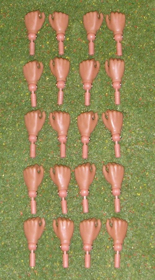 Vintage Action Man 40th Gripping Hands X 10 Pairs ( Colours May Vary )