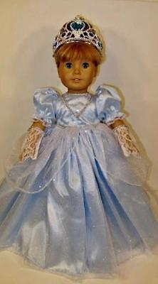 CINDERELLA PRINCESS DRESS Costume, Gloves, Crown Doll Clothes fits AMERICAN GIRL