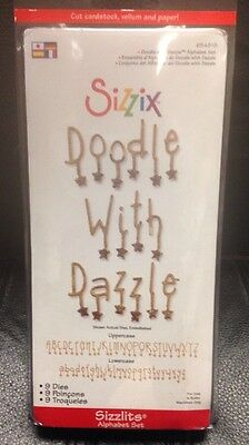 NEW Sizzix Sizzlits DOODLE WITH DAZZLE Alphabet Die Set Collection Lot of 9 - Sizzix Sizzlits Alphabet
