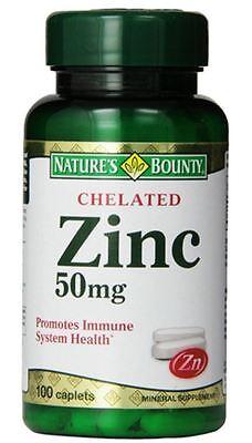 Nature's Bounty Chelated Zinc 50 mg Caplets 100 ea
