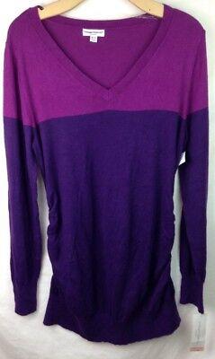 Liz Lange Maternity Sweater XL V Neck Side Ruching LS Top $25 Purple NWT